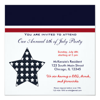 4th of July BBQ Party Card