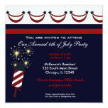 4th of July BBQ Party 5.25x5.25 Square Paper Invitation Card
