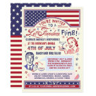 4th of July BBQ Party   Retro Freedom Fling Humour Card
