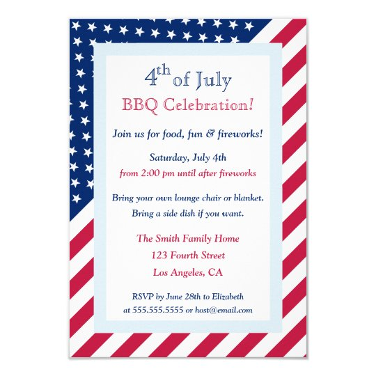 4th of July BBQ Party Stars Stripes Invitation