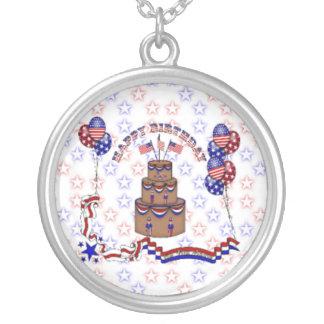 4th of July Celebration Round Pendant Necklace