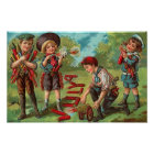 4th of July Children with Fireworks Poster