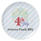4th of July Colourful Fireworks Personalised Plate