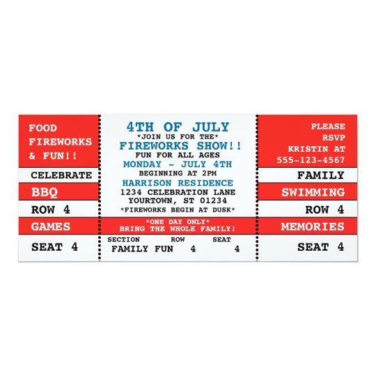 4th of July Concert Ticket Invitation