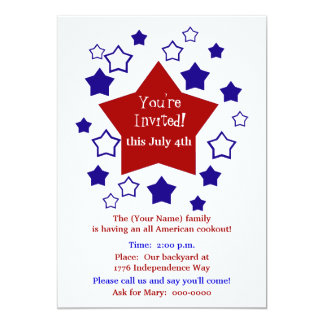 4th of July Cookout 13 Cm X 18 Cm Invitation Card
