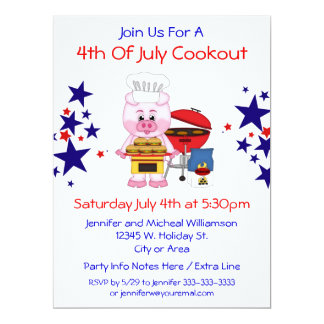 4th of July Cookout Funny Pig Hamburgers and Stars 17 Cm X 22 Cm Invitation Card