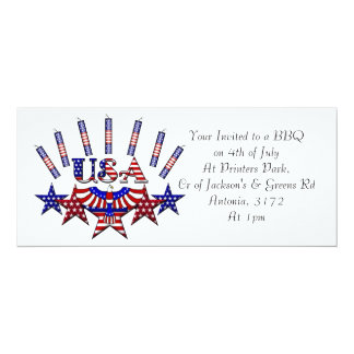 4th of July Crackers 10 Cm X 24 Cm Invitation Card