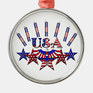 4th of July Crackers Round Metal Christmas Ornament