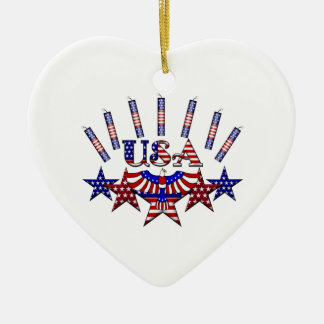 4th of July Crackers Double-Sided Heart Ceramic Christmas Ornament