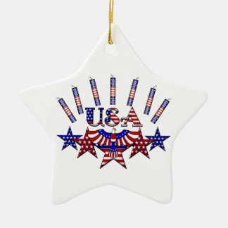 4th of July Crackers Double-Sided Star Ceramic Christmas Ornament