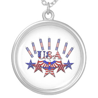 4th of July Crackers Round Pendant Necklace