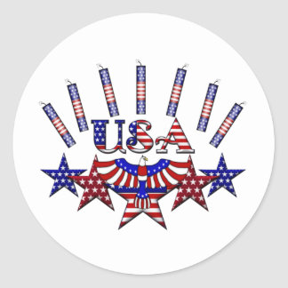 4th of July Crackers Classic Round Sticker