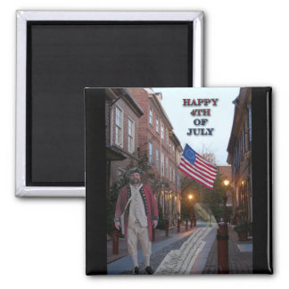 4th of July Elfreth's Alley Square Magnet