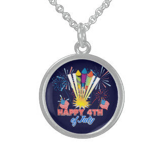 4th of July Fireworks Fun Round Pendant Necklace