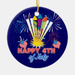 4th of July Fireworks Fun Round Ceramic Decoration