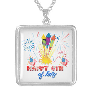 4th of July Fireworks Fun Square Pendant Necklace