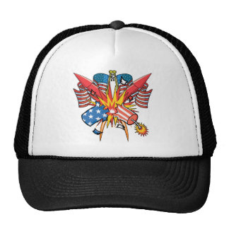 4th of July Fireworks Mesh Hats