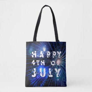 4th of July Fireworks in Blue Hue Happy 4th Tote Bag