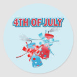 4TH OF JULY FIREWORKS ROUND STICKERS