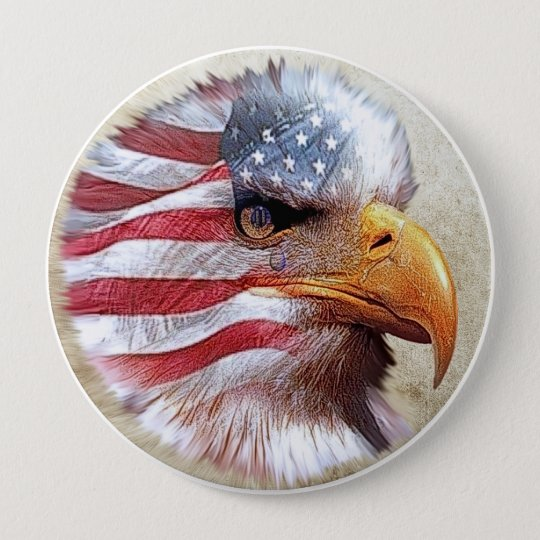 4th Of July Flag & Eagle 10 Cm Round Badge