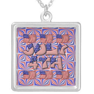 4th of July Flag Square Pendant Necklace