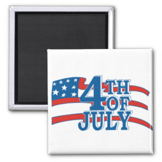 4TH OF July flag Square Magnet