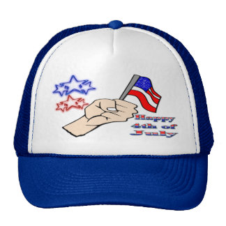 4th of July - Hand Holding Flag Hat