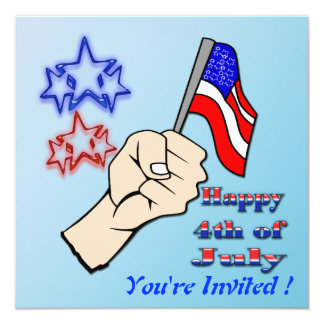 4th of July - Hand Holding Flag Invitation