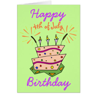 4TH OF JULY HAPPY BIRTHDAY Fireworks Cake Candles Greeting Card