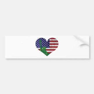 4th of July Heart Flag and Statue of Liberty Bumper Sticker