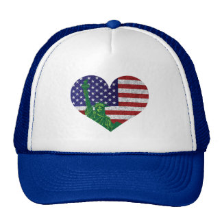 4th of July Heart Flag and Statue of Liberty Cap