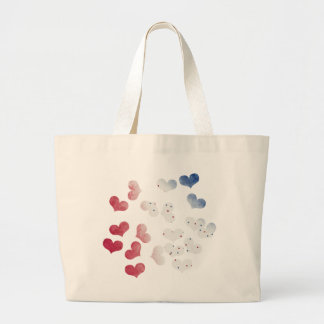 4th of July hearts Large Tote Bag