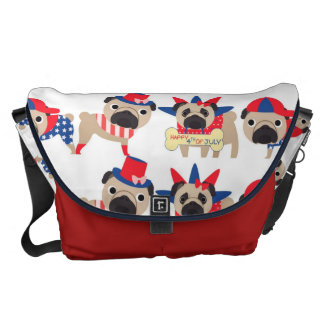 4th of July Independece Day Pugs Courier Bags
