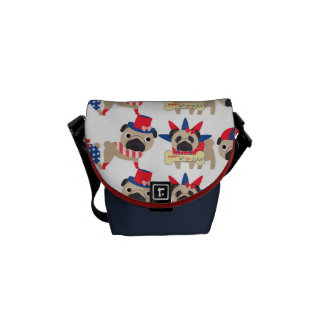 4th of July Independece Day Pugs Commuter Bags
