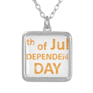4th of July Independence Day Stamp Silver Plated Necklace
