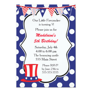 4th Of July Invitation Kids Birthday Party