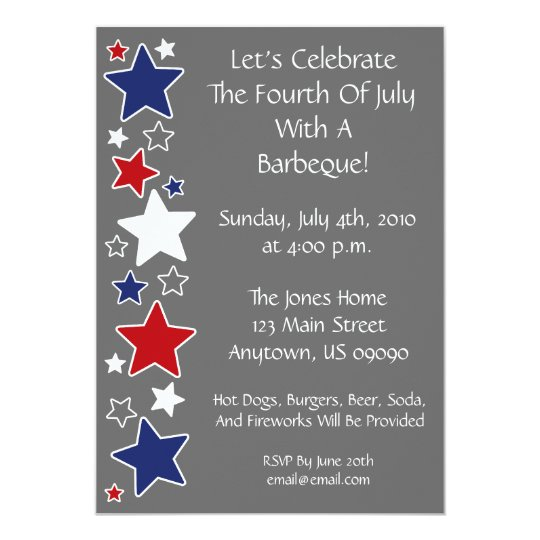 4th Of July Invitation (Red White And Blue