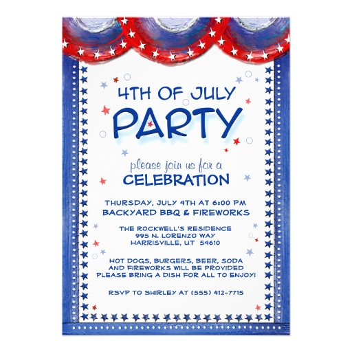 4th of July Invitation Red White Blue Star Border