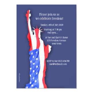 4th of july invitation, statue of liberty card
