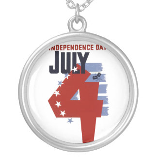 4th of July Round Pendant Necklace