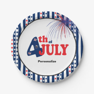 4th of July Party Celebration 7 Inch Paper Plate