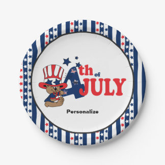 4th of July Party Celebration Bear Paper Plate