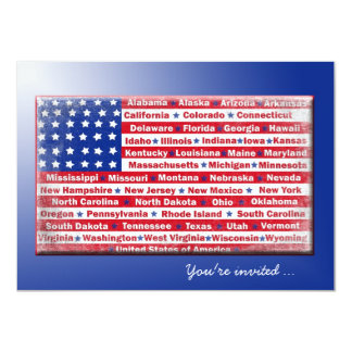 4th of July Party Flag 11 Cm X 16 Cm Invitation Card