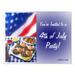 """4th of July Party Invitation, Burgers & Flag 4.25"""" X 5.5"""" Invitation Card"""