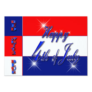 """4th of July Party Invitations - Red White and Blue 5"""" X 7"""" Invitation Card"""