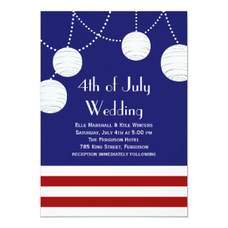 4th of July Party Lanterns Wedding Invitation