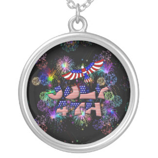 4th of July Party Round Pendant Necklace