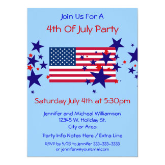 4th of July Party Red White Blue Stars USA Flag 17 Cm X 22 Cm Invitation Card