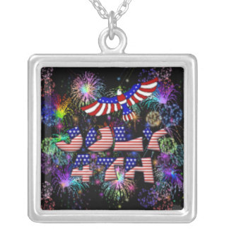 4th of July Party Square Pendant Necklace