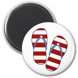 4th of July Patriotic American Flag Flip Flops 6 Cm Round Magnet